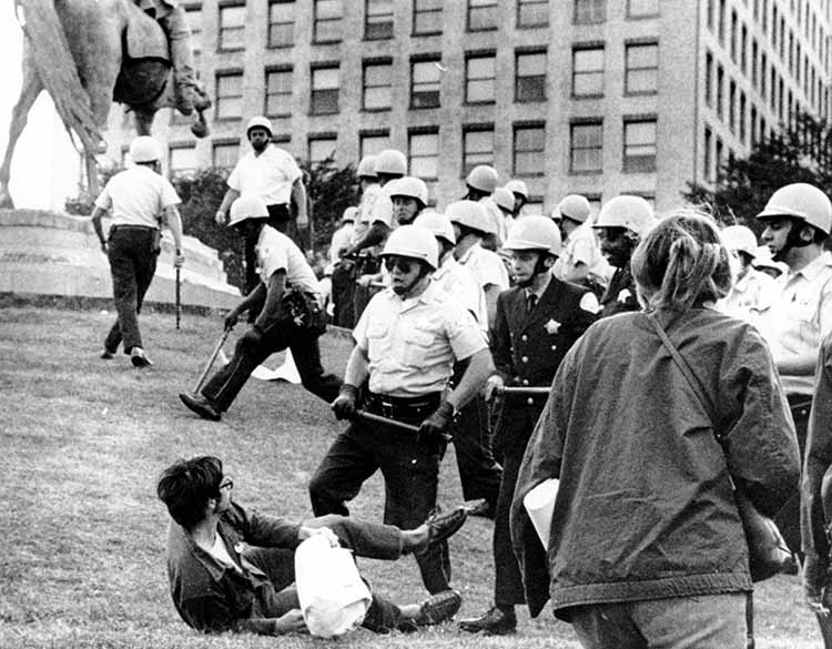 Protesters clash with police in the midst of the Democratic National Convention in 1968