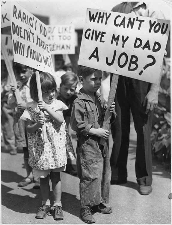 Children protest rampant unemployment during the Great Depression